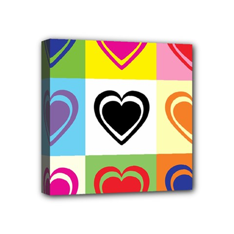 Hearts Mini Canvas 4  x 4  (Framed) by Siebenhuehner