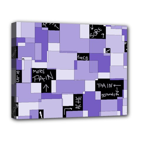 Purple Pain Modular Deluxe Canvas 20  X 16  (framed) by FunWithFibro