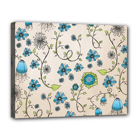 Whimsical Flowers Blue Canvas 14  X 11  (framed) by Zandiepants