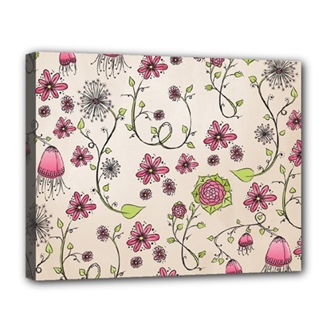 Pink Whimsical Flowers On Beige Canvas 14  X 11  (framed) by Zandiepants