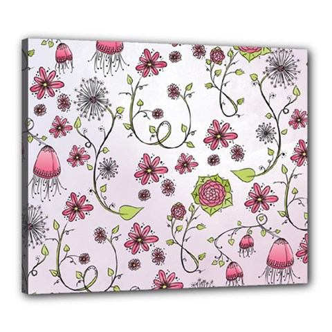 Pink Whimsical Flowers On Pink Canvas 24  X 20  (framed) by Zandiepants