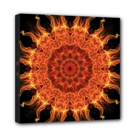 Flaming Sun Mini Canvas 8  X 8  (framed) by Zandiepants