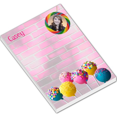 Candy Lollies Hot Pink Girls Pad With Name, Photo By Charley Heselti   Large Memo Pads   T1uyzxq3uux7   Www Artscow Com