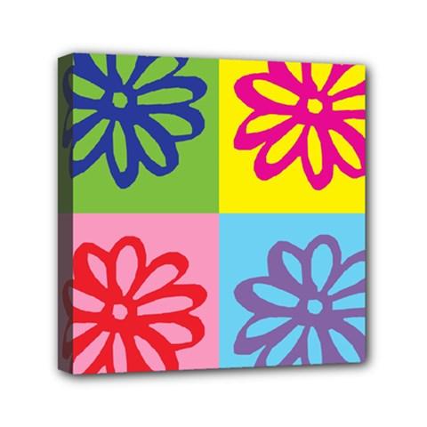 Flower Mini Canvas 6  X 6  (framed) by Siebenhuehner