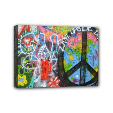 Prague Graffiti Mini Canvas 7  X 5  (framed) by StuffOrSomething