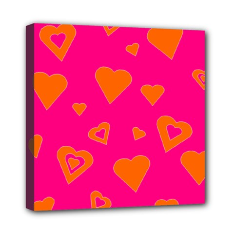 Hot Pink And Orange Hearts By Khoncepts Com Mini Canvas 8  X 8  (framed) by Khoncepts