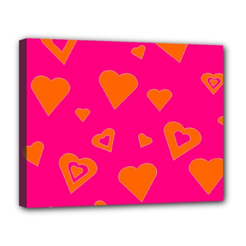 Hot Pink And Orange Hearts By Khoncepts Com Canvas 14  X 11  (framed) by Khoncepts