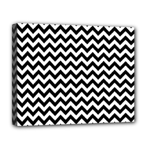 Black And White Zigzag Deluxe Canvas 20  X 16  (framed) by Zandiepants