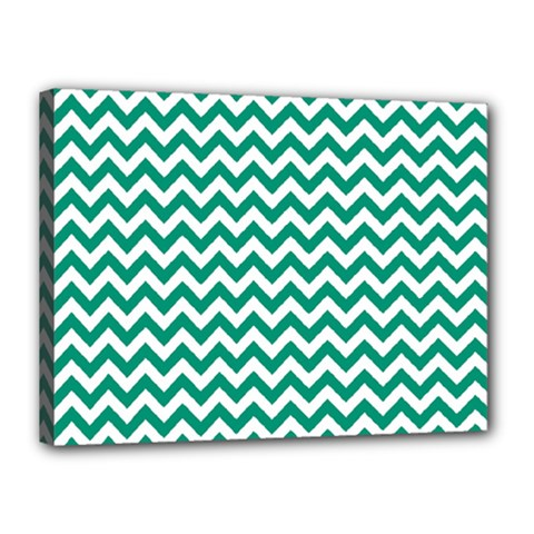 Emerald Green And White Zigzag Canvas 16  X 12  (framed) by Zandiepants