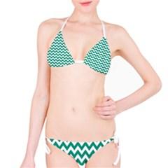 Emerald Green And White Zigzag Bikini by Zandiepants