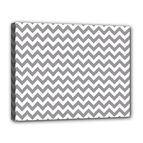 Grey And White Zigzag Canvas 14  X 11  (framed) by Zandiepants