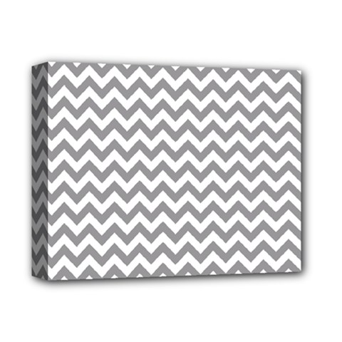 Grey And White Zigzag Deluxe Canvas 14  x 11  (Framed) by Zandiepants