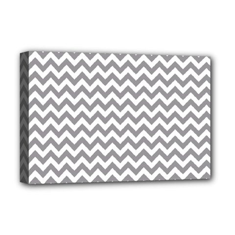 Grey And White Zigzag Deluxe Canvas 18  X 12  (framed) by Zandiepants