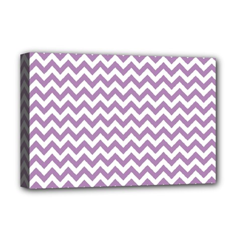 Lilac And White Zigzag Deluxe Canvas 18  X 12  (framed) by Zandiepants