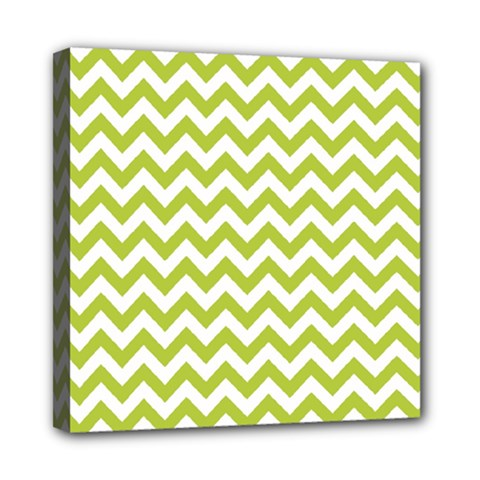 Spring Green And White Zigzag Pattern Mini Canvas 8  X 8  (framed) by Zandiepants