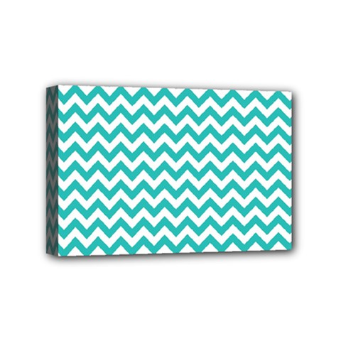 Turquoise And White Zigzag Pattern Mini Canvas 6  x 4  (Framed) by Zandiepants