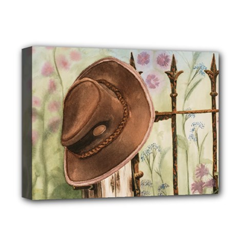 Hat On The Fence Deluxe Canvas 16  x 12  (Framed)  by TonyaButcher