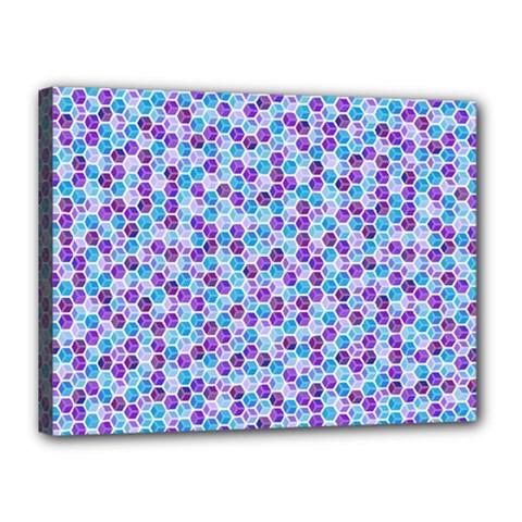 Purple Blue Cubes Canvas 16  X 12  (framed) by Zandiepants