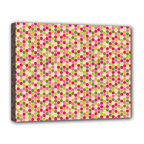 Pink Green Beehive Pattern Canvas 14  X 11  (framed) by Zandiepants