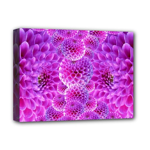 Purple Dahlias Deluxe Canvas 16  X 12  (framed)  by FunWithFibro