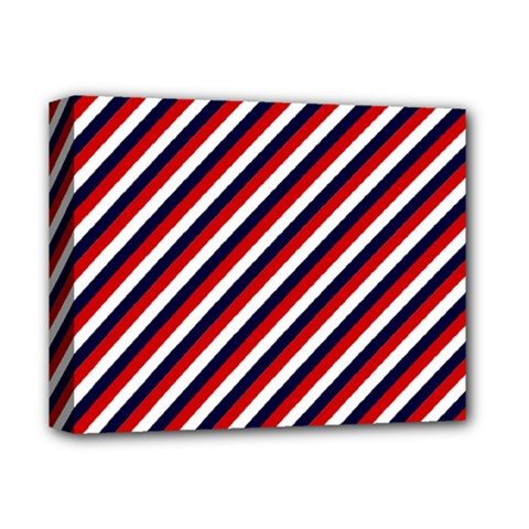 Diagonal Patriot Stripes Deluxe Canvas 14  X 11  (framed) by StuffOrSomething