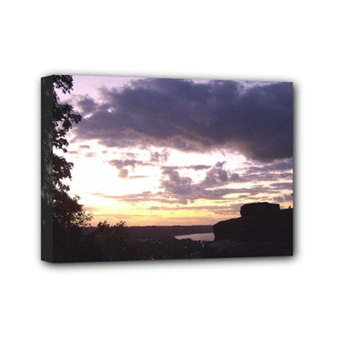 Sunset Over The Valley Mini Canvas 7  x 5  (Framed)