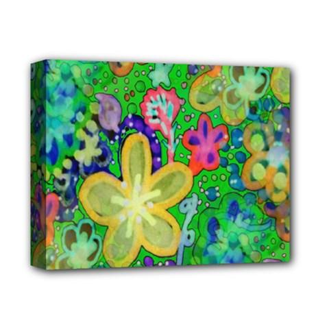 Beautiful Flower Power Batik Deluxe Canvas 14  X 11  (framed) by rokinronda