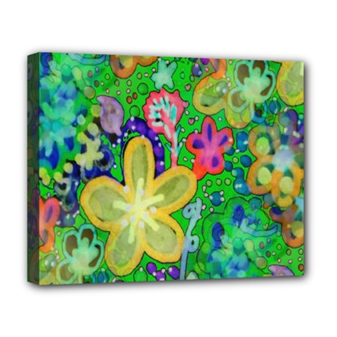 Beautiful Flower Power Batik Deluxe Canvas 20  X 16  (framed) by rokinronda