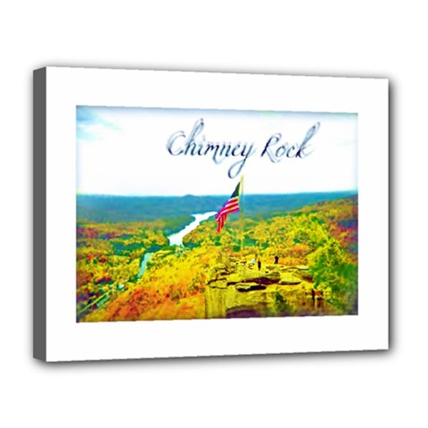Chimney Rock Overlook Air Brushed Canvas 14  X 11  (framed) by Majesticmountain