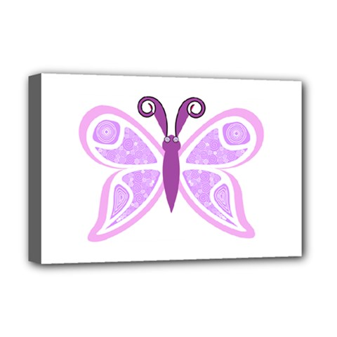 Whimsical Awareness Butterfly Deluxe Canvas 18  X 12  (framed) by FunWithFibro