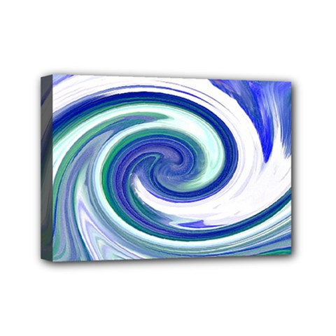 Abstract Waves Mini Canvas 7  X 5  (framed) by Colorfulart23