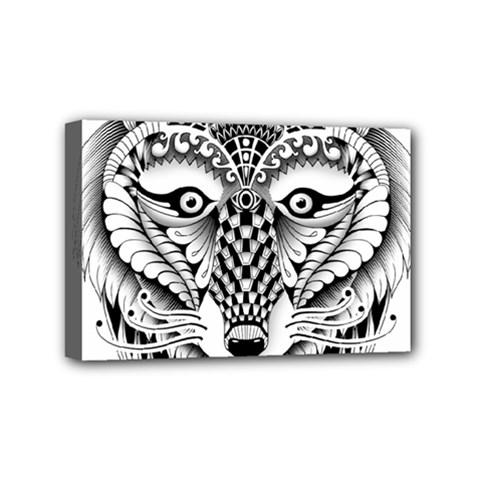 Ornate Foxy Wolf Mini Canvas 6  X 4  (framed) by Zandiepants