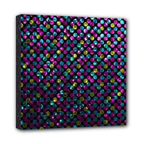 Polka Dot Sparkley Jewels 2 Mini Canvas 8  X 8  (framed) by MedusArt