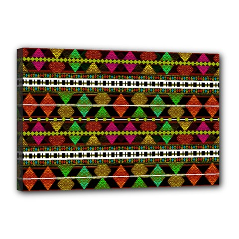 Aztec Style Pattern Canvas 18  X 12  (framed) by dflcprints
