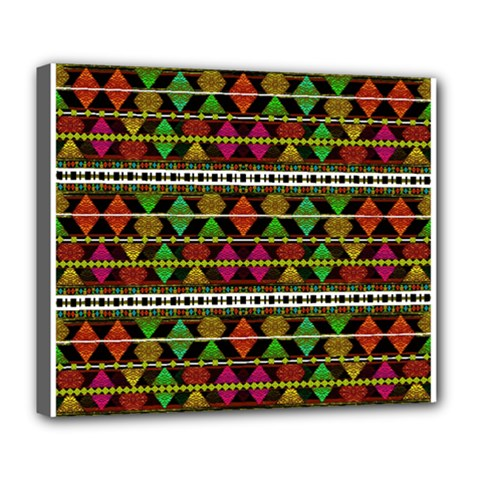 Aztec Style Pattern Deluxe Canvas 24  X 20  (framed) by dflcprints