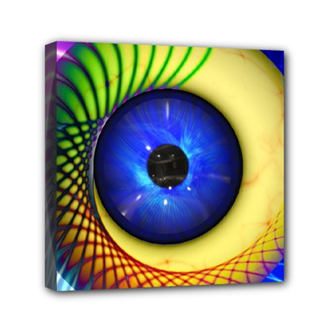 Eerie Psychedelic Eye Mini Canvas 6  X 6  (framed) by StuffOrSomething