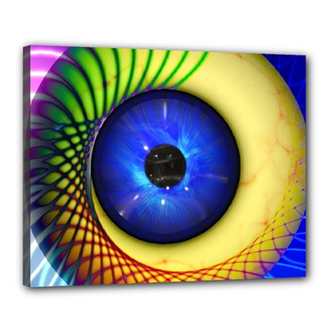 Eerie Psychedelic Eye Canvas 20  X 16  (framed) by StuffOrSomething