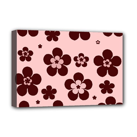 Pink With Brown Flowers Deluxe Canvas 18  X 12  (framed)