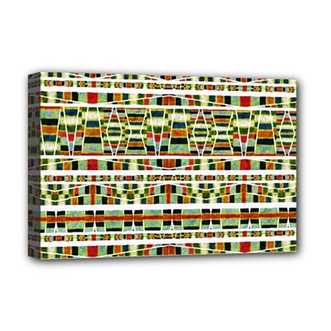 Aztec Grunge Pattern Deluxe Canvas 18  X 12  (framed) by dflcprints