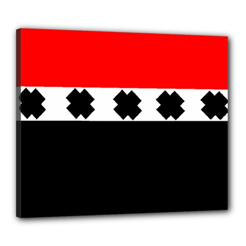 Red, White And Black With X s Design By Celeste Khoncepts Canvas 24  X 20  (framed) by Khoncepts