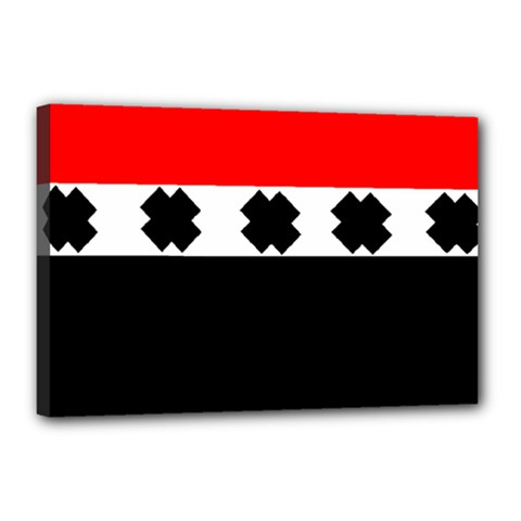 Red, White And Black With X s Design By Celeste Khoncepts Canvas 18  X 12  (framed) by Khoncepts