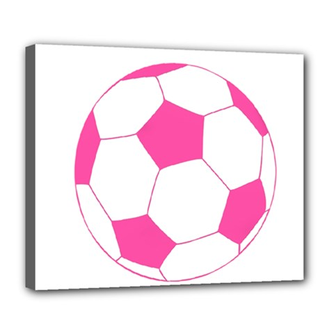 Soccer Ball Pink Deluxe Canvas 24  X 20  (framed) by Designsbyalex
