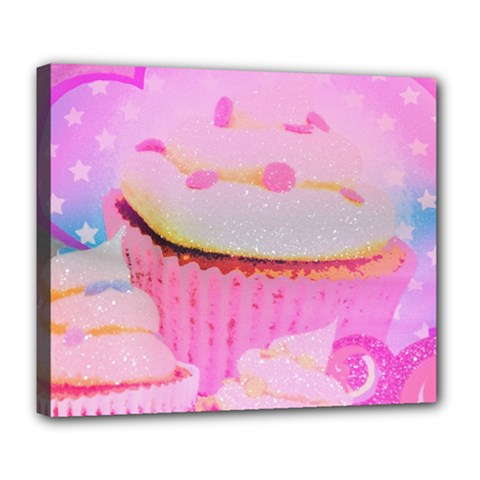 Cupcakes Covered In Sparkly Sugar Deluxe Canvas 24  X 20  (framed) by StuffOrSomething