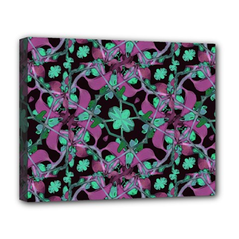 Floral Arabesque Pattern Deluxe Canvas 20  X 16  (framed) by dflcprints