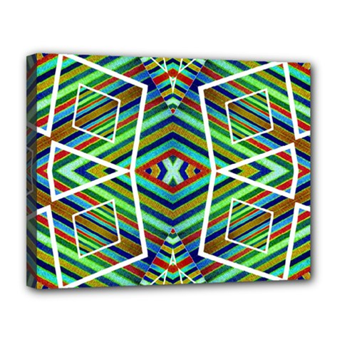 Colorful Geometric Abstract Pattern Canvas 14  X 11  (framed) by dflcprints