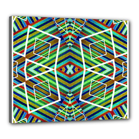 Colorful Geometric Abstract Pattern Canvas 24  x 20  (Framed) by dflcprints