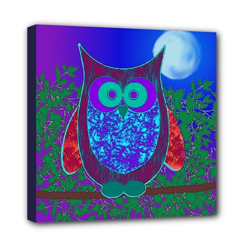 Moon Owl Mini Canvas 8  X 8  (framed)