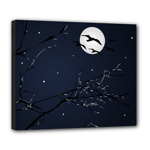 Night Birds And Full Moon Deluxe Canvas 24  X 20  (framed) by dflcprints