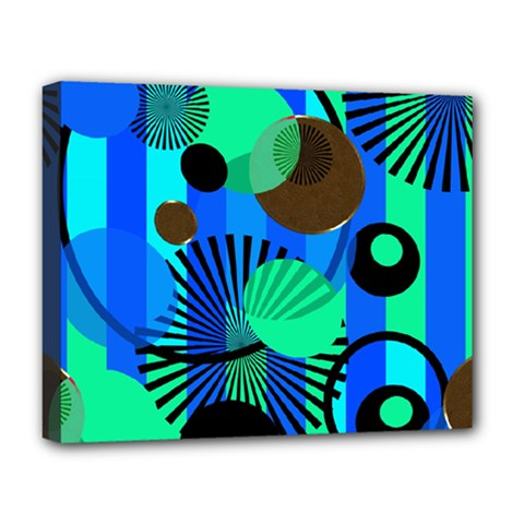 Blue Green Stripes Dots Deluxe Canvas 20  x 16  (Framed)