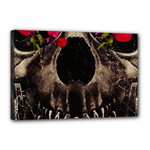 Death And Flowers Canvas 18  X 12  (framed) by dflcprints